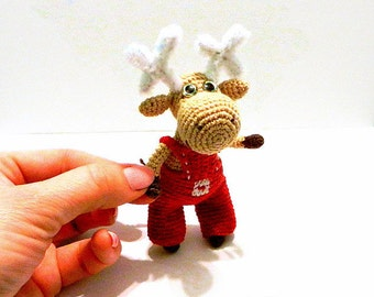 Moose toy * Crochet Moose* miniature toy * Stuffed Moose* Animal Amigurumi* Woodland Animal Plushie