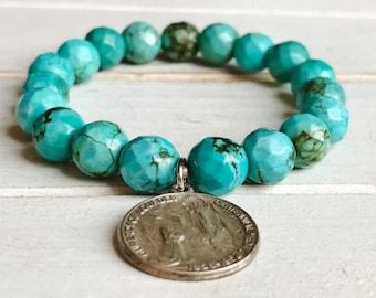 Genuine Turquoise Vintage Medal Bracelet / BoHo Gemstone Stretch Bracelet / Stacking Statement Bracelet / Grace Collection Religious Medal