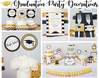Graduation Party Decorations - Printable Graduation Party - Gold Black Graduation Party Decorations by Printable Studio