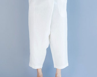 women linen pants/women leisure trouses/women comfortable trouses/women white pants/women spring trouses/BJPJAN11119