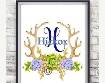 Succulents Monogram Wall Art, Png File, Pdf File, Instant Download Art, Wall Art, Water Color Art, Deer Antler Art