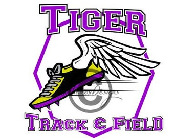 Tiger Track And Field Svg File, Dxf File, Winged Shoe Svg