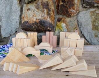 Wooden block set - 51 wooden blocks - Wooden toys - Waldorf - Wooden toys - Building blocks - Wood blocks - Easter gift - Birthday gift