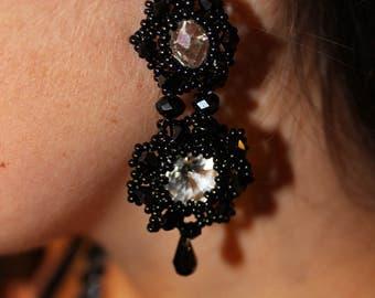Earrings for her stud earrings  black earrings Statement Earrings gift for wife Fashion Accessories long beaded earring Girlfriend jewelry