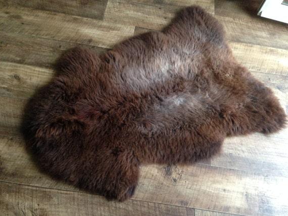Schaffell Teppich Größe XL Dick Brown weiß von