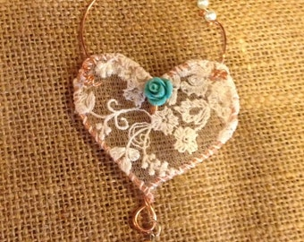 Little Rose Gold and Turquoise Wire and Lace Heart