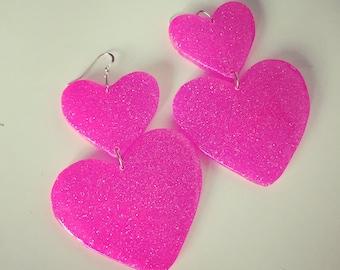 Large Sweet Heart Earrings - Hot Pink