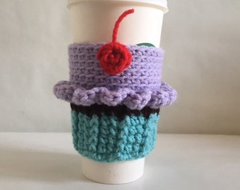 Cupcake Travel Cup Cozy Crochet Starbucks Coffee Cup Cozy Birthday Cupcake cozies Made to Order