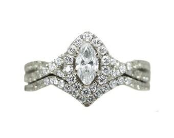 14k White Gold Diamond Marquise Bridal Set