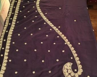 Plum Burgundy SILK Sari, Pure Crepe SILK, Dark Plum Burgundy with Bright GOLD heavy embroidery, net area, very lovely