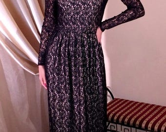 Black Lace  Maxi Evening Elegant Dress Long Sleeves