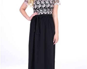 Black Lace Maxi Evening Dress Short Sleeves