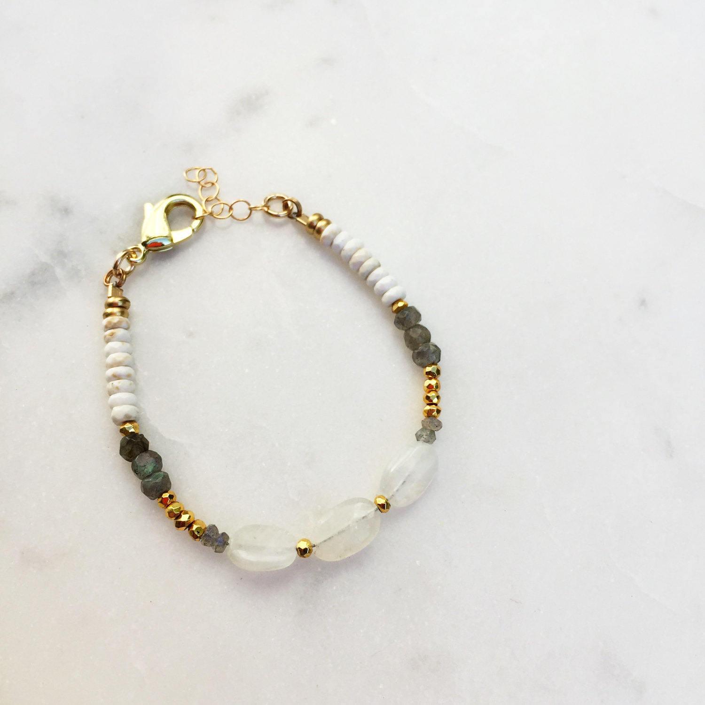 Triple  Moonstone Bracelet | Raw Gemstones | Beaded Bracelet |