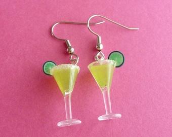 Margarita Cinco de Mayo Miniature Food Jewelry Gifts for Her Margarita Earrings Resin Polymer Clay