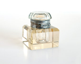 Antique crystal ink well, solid elegant shape, collector's find, movie prop, gift for a man
