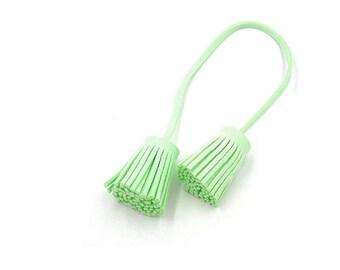 Tassel Tie - Tassels - Decorative Tassels - 4 Mint Green Cords, Attached Tassel Ends - Purse Tassel Cords - Cell Phone Decoration - TD-A06