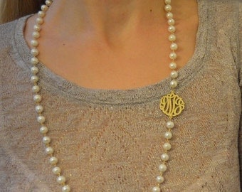 Personalized monogram necklaces,Initial monogram necklaces,Long freshwater pearl necklace, triple initial pearl necklaces,Custom monograms