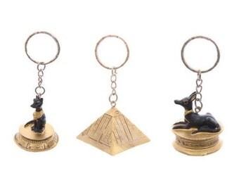 Egyptian key pendant, Anubis, pyramid, Bastet, Egypt, hand painted