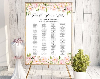 Peony Alphabetical Seating Chart Template, Printable Floral Wedding Seating Plan, up to 300 guests, 24x36 Large Poster, PDF Download #104