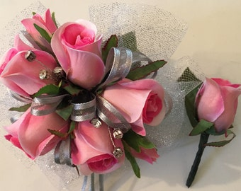 Homecoming Corsage, Prom Wrist Corsage, Pink And Silver Silk Wrist Corsage, Quinceneara, Mother of the Bride Wrist Corsage