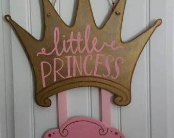 Antique princess crown baby door hanger, hospital door hanger, welcome baby door hanger