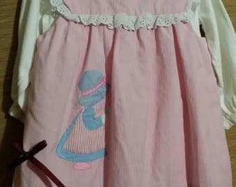 Little girl Holly Hobby 2 pc dress, with white lace hemline and under dress,pink over apron dress.