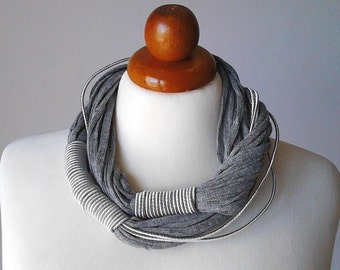 Statement Necklace Grey Jewelry grey necklace chunky necklace statement collar necklace fiber necklace big bold necklace silver bib necklace