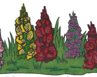 Vintage 1950's Foxglove Flowers Felt Board Applique 3-D Details 10 Inches Wide