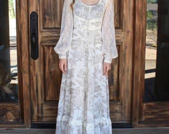 Vintage Gunne Sax Dress White/Cream Lace Size Small