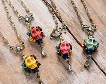 Sugar Skull Necklace, Mexican Jewelry, Day of the Dead Necklace, Calavera Pendant, Dia de los Muertos Necklace, Kitsch Jewelry, Gothic N241