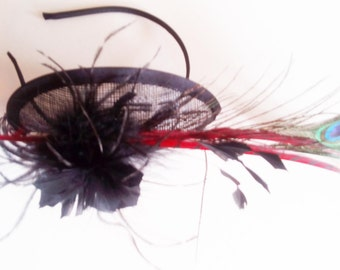 Black chic fascinator special occasions sinamay with peacock feathers chapeau bibi headpiece, tea party british hat church hat cocktail hat