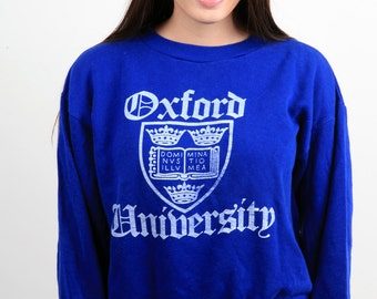 Oxford University vintage sweatshirt Oxford seal front print blue and white sweatshirt