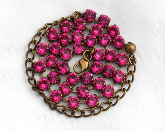 SALE - NECKLACE or BRACELET - Fuchsia Pink 6mm Swarovski Crystal Jewelry - Available in multiple finishes