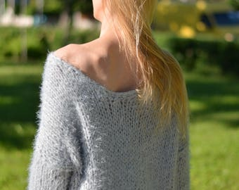 READY handmade summer sweater hand knitted jumper fuzzy pullover off-shoulder soft sweater Boho loose knit slouchy chunky boatneck Dukyana