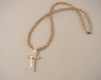 Freshwater Pearl Cross Pendant Necklace  - White / Peach Cultured Pearl Pendant - Bronze Freshwater Pearl Necklace