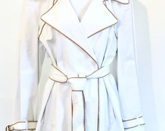 New Calvin Klein White & Tan Trench Coat, Jacket, Spring Coat, New Dead-stock, Designer Clothing