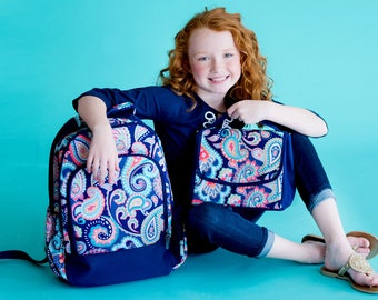 Paisley Backpack and Lunchbox with FREE Monogramming, Back to School, Girls Backpack and Lunchbox Set
