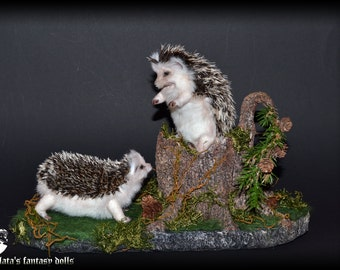 Stand stump for 2 small faux taxidermy art doll animals, Nature Forest Miniature decoration,  miniature forest, forest, forest in miniatura