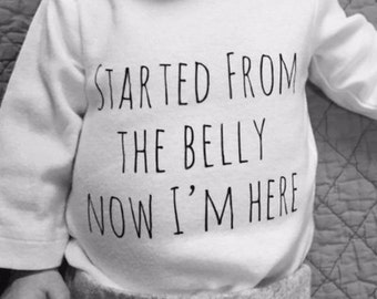 Started From the Belly Now I'm Here Baby Bodysuit