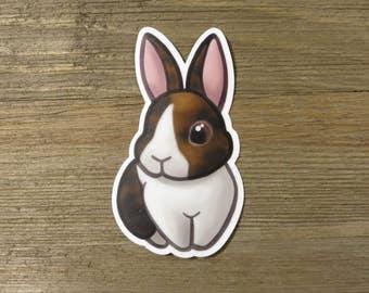 Harlequin Dutch bunny sticker; cute printed vinyl rabbit sticker, waterproof, weatherproof