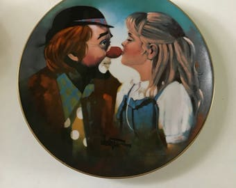 """Vintage Porcelain Hackett American Clown Plate Happy Days Chuck Oberstein  Wonderful World of Clowns Collection """"Kiss For A Clown"""" 