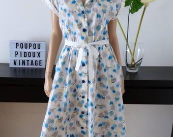 Robe vintage blanche imprimé bleu/jaune taille 42 - uk 14 - us 10