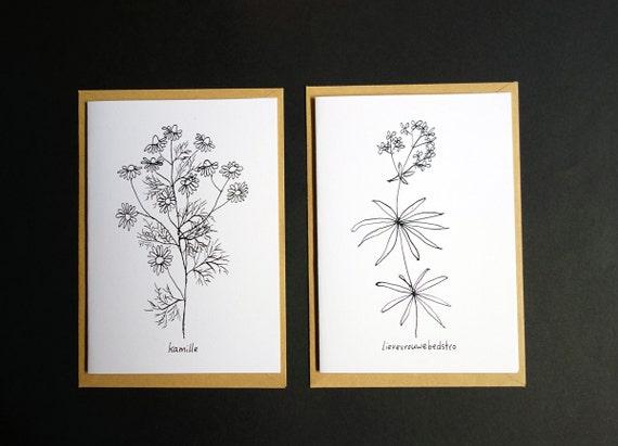 Carte avec illustration noir et blanche de camomille et for A l interieur des gentils