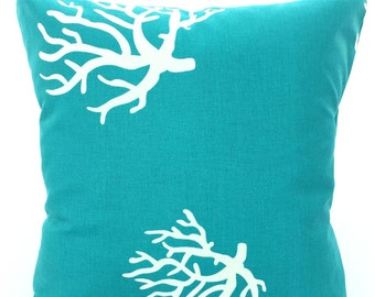 Turquoise Pillow Covers, Decorative Throw Pillows, Cushion Covers,True Turquoise White Coral, Aqua, Couch Bed Pillows, 12 x 16 or 12 x 18
