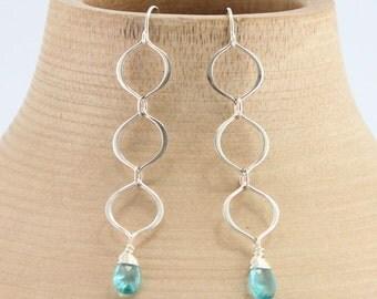 Silver Earrings, Gemstone Earrings, Dangle Earrings, Apatite Earrings, Minimalist Earrings, Long Earrings, Aqua Earrings