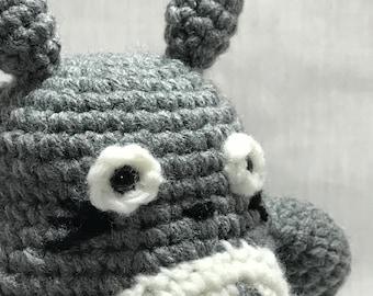 FREE SHIPPING Totoro, Handmade Crochet Totoro, Gray Totoro Plushie, Totoro Stuffed Animal, Studio Ghibli, My Neighbor Totoro Plushie