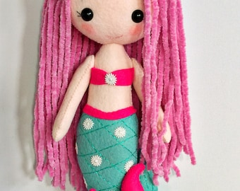 Gingermelon mermaid felt doll. Individual and unique. Handmade.