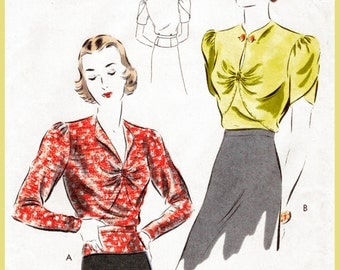 Vintage Sewing Pattern 1930s 30s blouse pattern puff sleeve ruched front art deco style repro reproduction