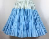 Vintage Blue Ruffle Petticoat Very Full Swing Rockabilly Square Dance