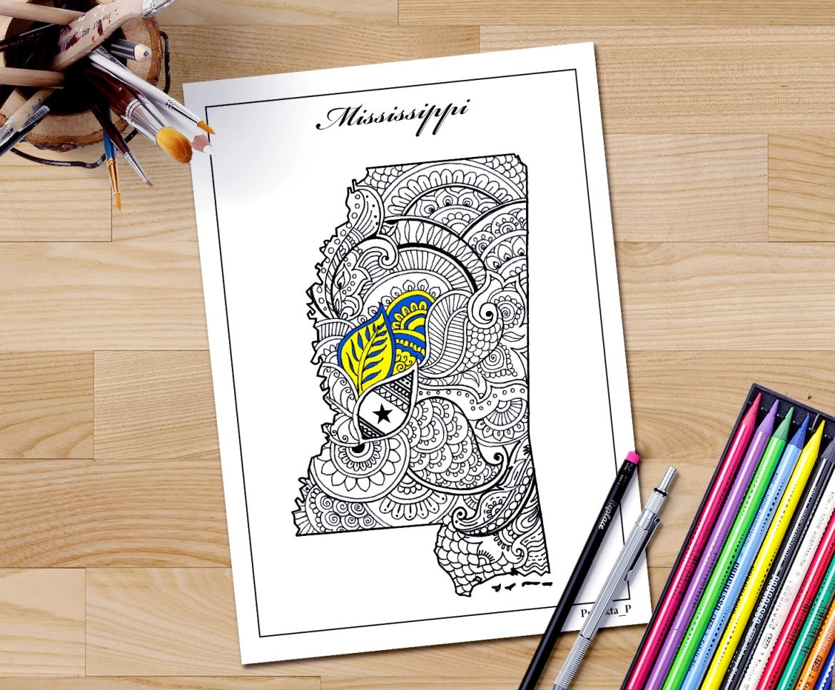 mississippi state map coloring page zentangle usa